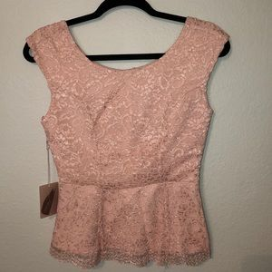 NWT Pink Peplum Lace Top